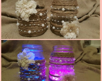 Burlap Pearl Mason Jar Light Set