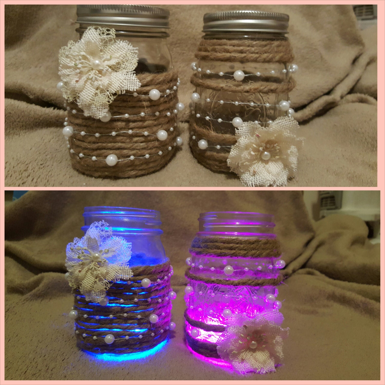 Burlap pearl mason jar light set for Burlap lights