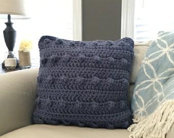 """Bobble 18"""" Square Crocheted Pillow in Denim Blue"""