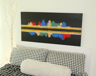 "Original Rhythm Textured Abstract Acrylic Painting by artbyboon (24"" x 48"")"