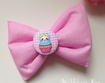 Pink matryoshka, russian doll quilted/padded girls hair bow, clip.