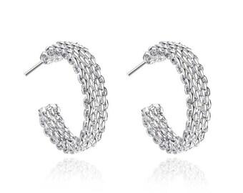 Ladies Gorgeous silver plated earrings Weaved Web Stud Earrings.
