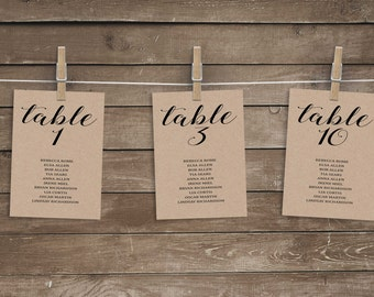 Wedding seating chart template, wedding seating chart printable, wedding table numbers, unique seating chart, wedding seating chart cards