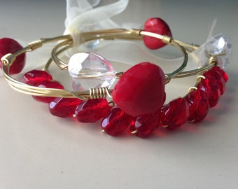 Wire Wrapped Bangle Set of 3