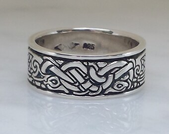 Celtic Birds sterling SILVER Celtic ring, Celtic Band 6.5mm, 8mm, and 9mm