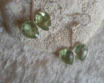 Green amethyst earring bezel .2' nice