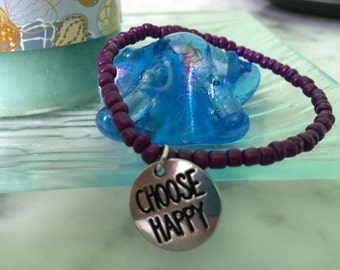 "Purple Beaded Bracelet, ""Choose Happy"" Charm, Inspirational"