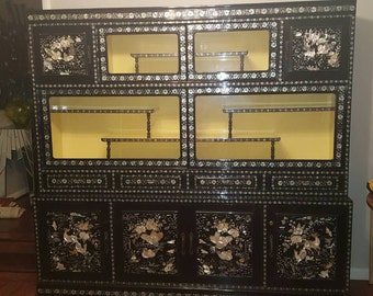 Korean 1940's Asian Antique Inlaid Mother of Pearl Black Lacquer China Cabinet