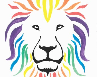 Set of 5 Beautiful Lion #1 Blank Greeting Cards with Envelopes