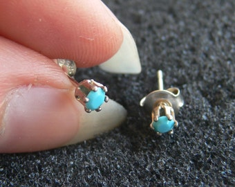 """Earrings-Swarovski 3 mm light """"turquoise"""" and Silver 925"""