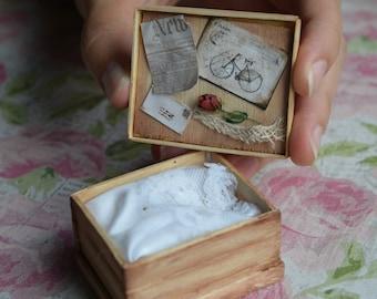1:12 Scale Miniature Wedding Dress in a Box
