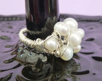 Fresh Water Pearl Silver Plated Ring R#1