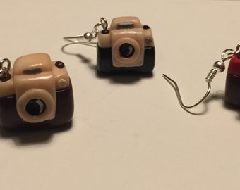 Camera earrings in polymer clay