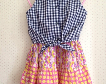 Little lady gingham check shirt blouse 3