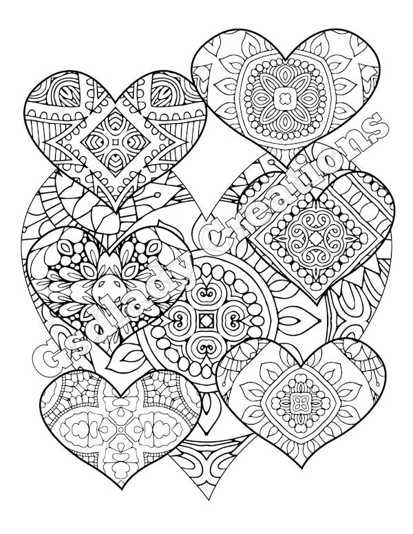 heart zentangle coloring pages - photo#6