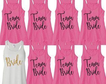 Team Bride Tanks. Set of 8. Glitter Bride Tank. Glitter Bridesmaid Tank. Bridal Party Tanks.