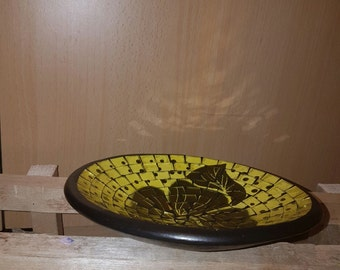 Mosaic Yellow Dish Terracota Glass Ornament Decoration Rustic