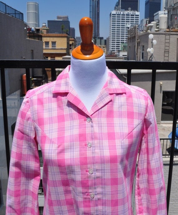 Vintage 1960s NANCY FROCK Day Dress Size M Pink Plaid Long Sleeve Cotton