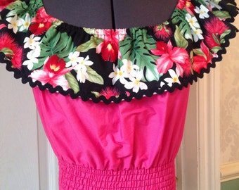 Rockabilly 50s inspired sleeveless gypsy- pink and black lilies