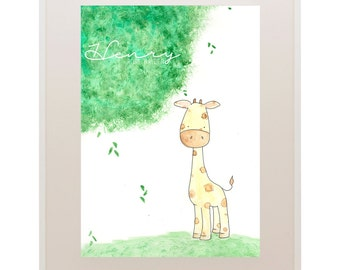 Giraffe Kids Art // Nursery Art // 'Oh Baby, Baby!' Baby and Kids Framed Prints // Wall Art // Children