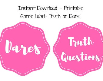 Instant Download - Printable Game Label - Truth or Dare