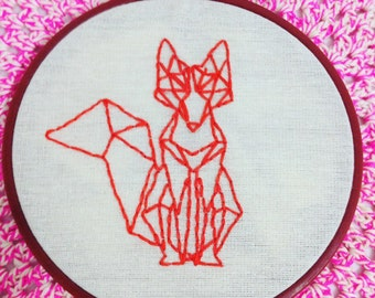 Coral Fox, Embroidery Hoop Art, Needlepoint, Cotton Home Decor, Fabric Wall Hanging, Wall Art, Handmade Gifts