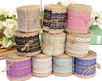 2M DIY Craft Lace Ribbon Sewing Tape Natural Jute Hessian Roll Burlap Trims Tape Rustic Wedding Centerpieces Party Decor Craft