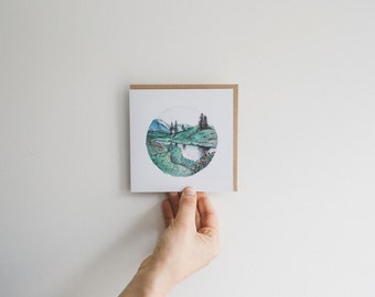 Reflective Water - blank watercolour greeting card - recycled, 125mm square - with kraft envelope