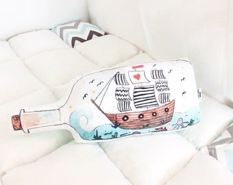 Ship in the bottle pillow