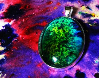Oval Water Color Pendant Necklace with Free shipping
