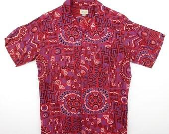 1950s Penney's Ancient Murals Pattern Silky Rayon Hawaiian Shirt - Mint