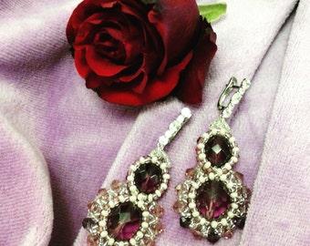 Handmade earrings with Swarovski beads - sterling silver 925. Color - amethiste.