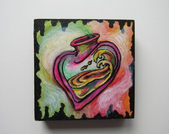 Tattoo Style Acrylic Painting-Poison Heart-Original Piece-Canvas