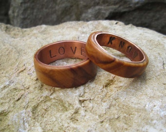 Copper and olive wood rings wedding ring copper I love you i know rings geek engagement rings wooden rings geek rings star wars rings