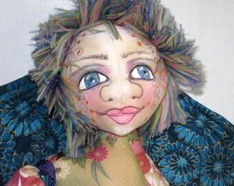 Fairy OOAK Cloth Art Doll, Blue Flowers Soft Sculpture, JDCreativeDolls,  Pixie Sprite Shelf Sitter