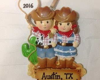 Personalized Christmas Cowboy Cowgirl Couple  Family of Two , newlyweds Christmas Ornament,Hostess Gift