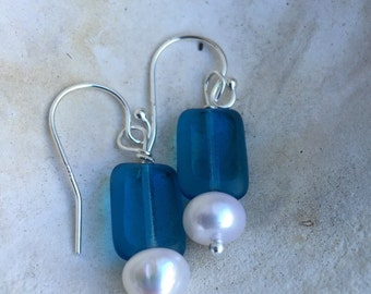 Blue glass and pearl earrings