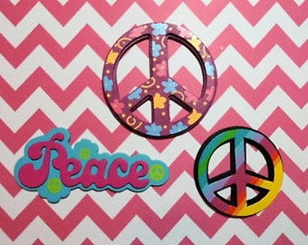 Painted wood peace accents - set of 3