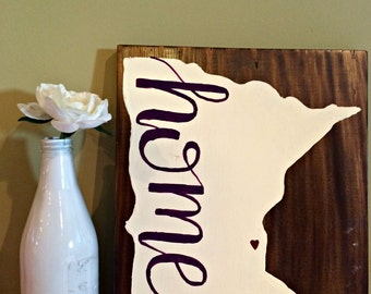 """Minnesota """"home"""" // Hand Painted Silhouette Wood Sign"""