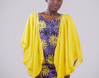 Short African print dress, African print dress with chiffon, short Ankara dress
