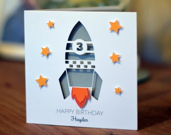 Personalized Happy Birthday 3d Card Rocket