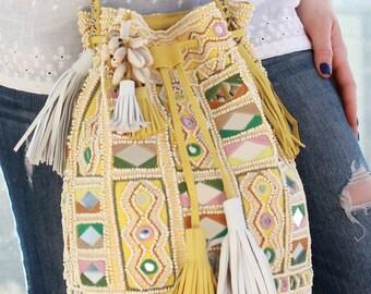 Amita Yellow Beaded Bag