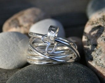 Wide silver ring Charms
