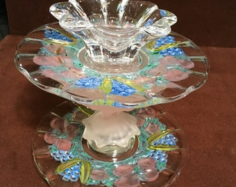 Two-tiered Hand-painted Glass Jewelry Stand