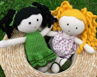 Crocheted doll with dark hair