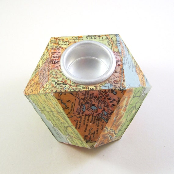 Map candle holder
