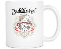 Yoga Coffee Mug / Cute Coffee Mug / Unique Handmake Coffee Mug / Buddha Cat Lover Coffee Mug / BUDDHAKAT White Coffee Mug 11oz./15oz.