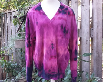 Remade by Panda's House of Vintage - 1980's Neiman Marcus cashmere sweater - 112cm / 44inch - purple, pink and blue