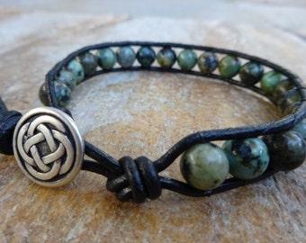 Mens 8mm African Turquoise Bead / Black Leather Bracelet Single Wrap Irish Celtic Knot Button Beaded Natural Gemstone