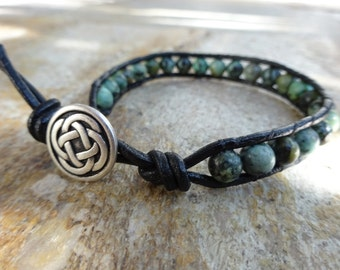 Mens 6mm African Turquoise Bead / Black Leather Bracelet Single Wrap Irish Celtic Knot Button Beaded Natural Gemstone